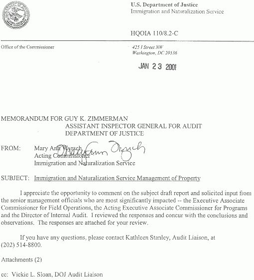 Immigration and Naturalization Service Management of Property