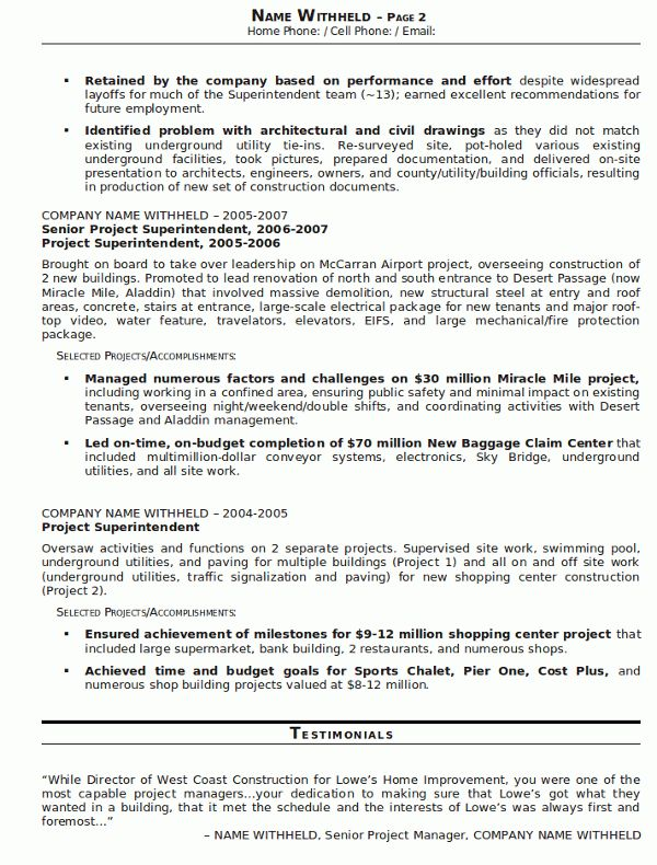 Resume Sample 23 - Construction Superintendent resume - Career Resumes
