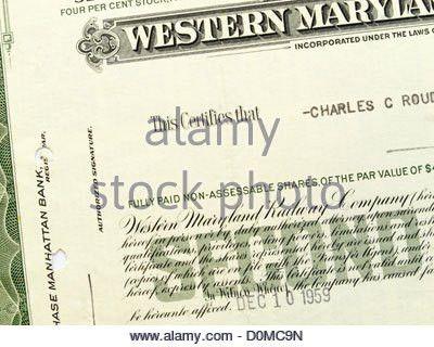 Share certificate of the Western Maryland Railway Company Company ...
