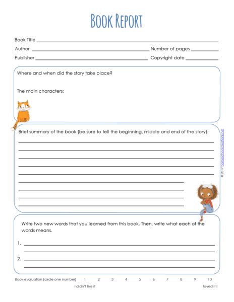 Book Report Forms - Free Printable