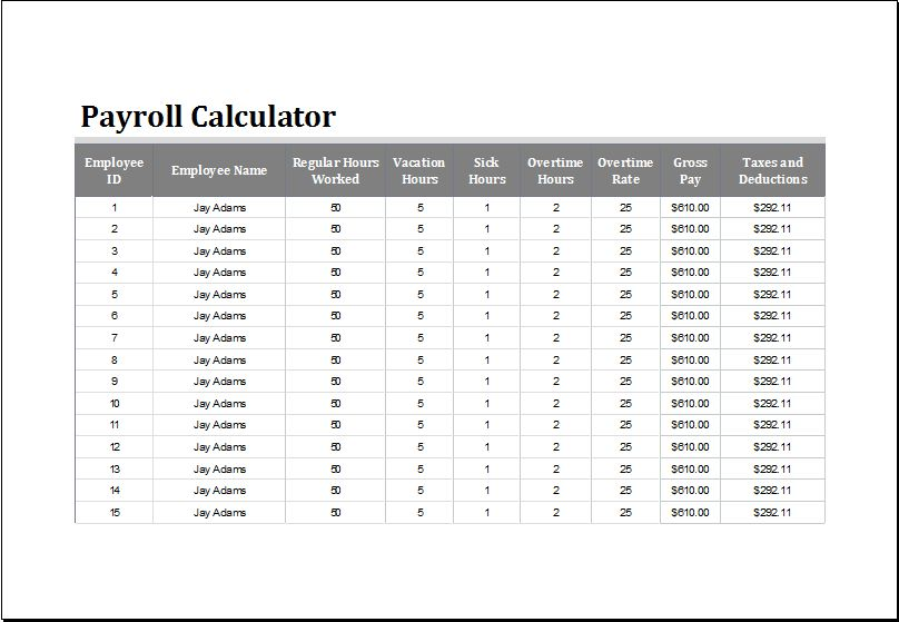 Payroll Calculator Template for EXCEL | Word & Excel Templates