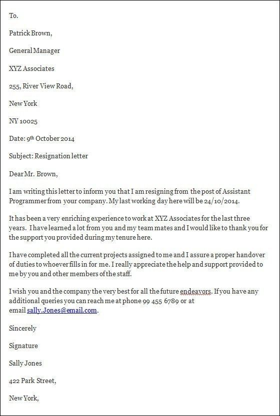Resignation Letter : Resignation Letter With Short Notice Search ...