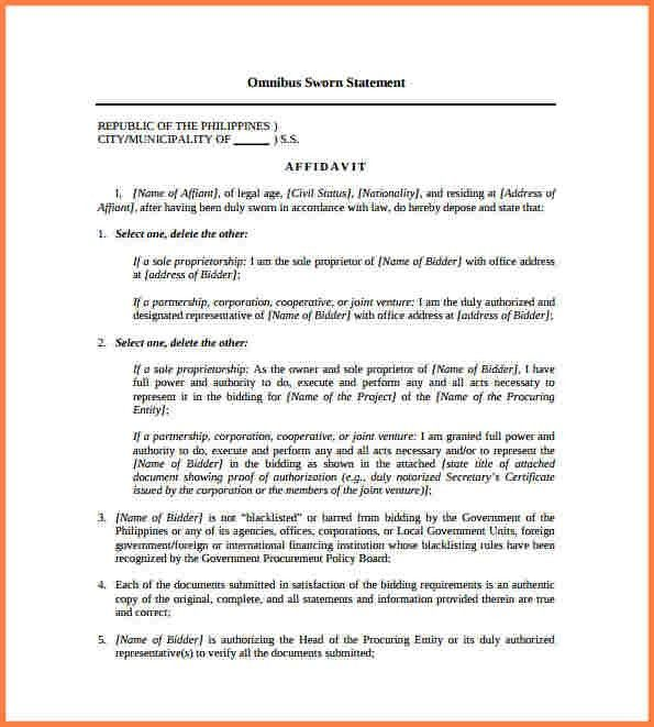 Sworn Statement Template. project summary report sample template ...