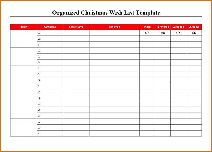 7+ christmas wish list template | Job Resumes Word