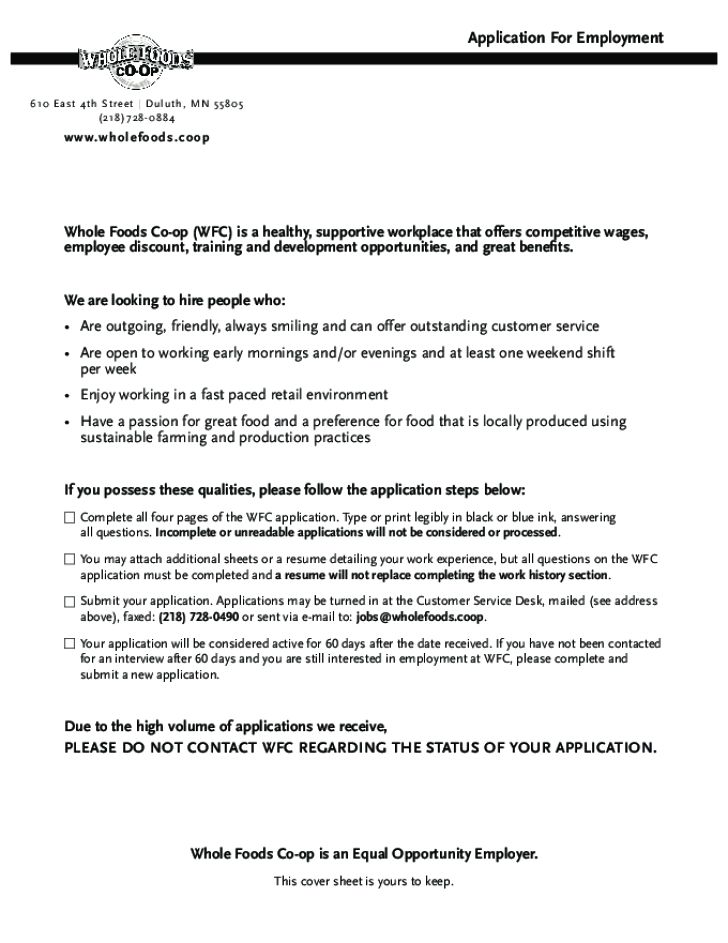Free Printable Whole Foods Job Application Form