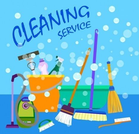 Cleaning services advertising housewife icon cleaning tools decor ...