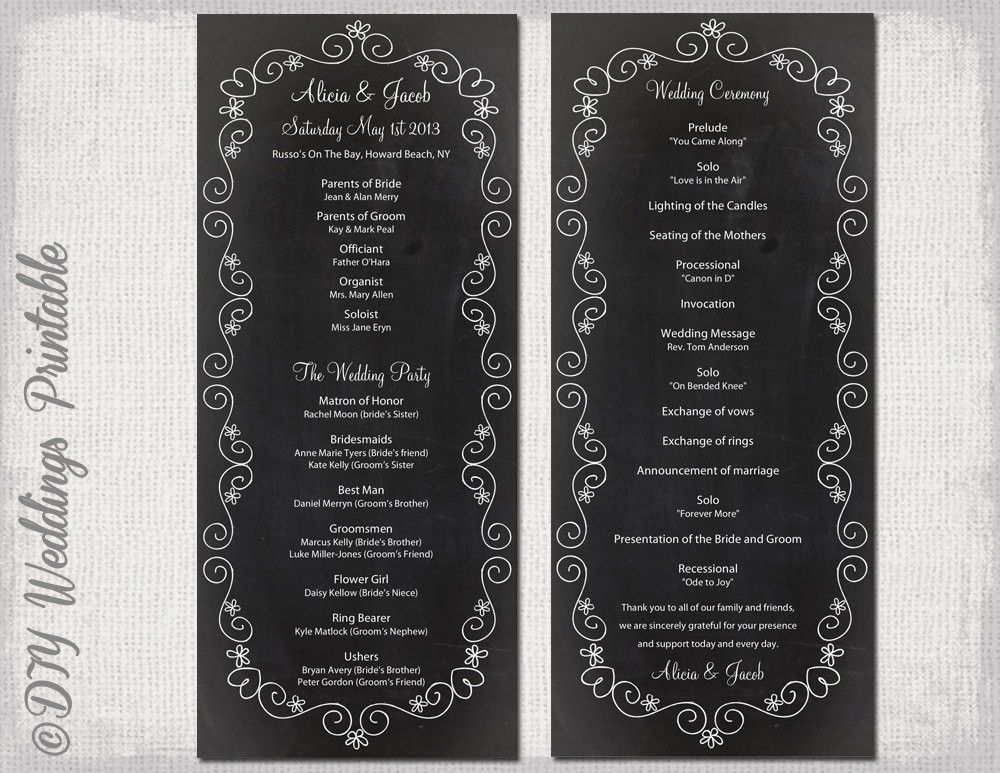 Chalkboard Wedding program template chalk board programs black