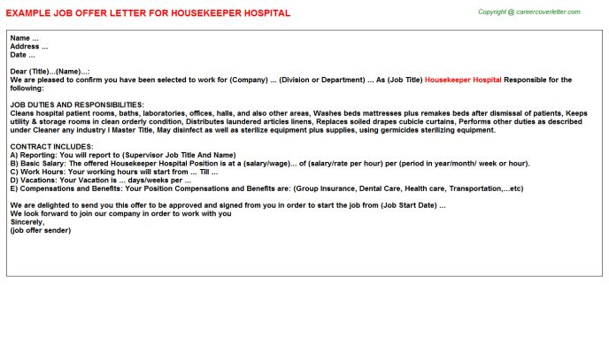 Housekeeper Hospital Offer Letters
