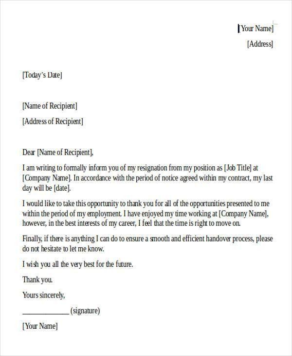 Internship Resignation Letter Template - 6+ Free Word, PDF Format ...