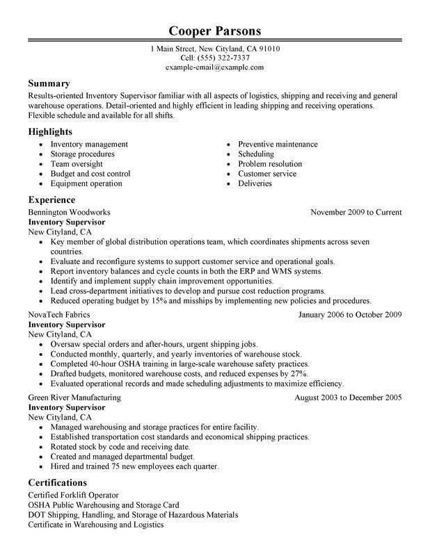 Unforgettable Inventory Supervisor Resume Examples to Stand Out ...