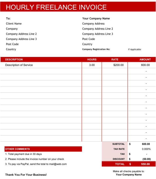 Freelance Invoice Templates - 5 Best Free Samples for Word