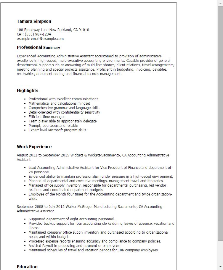 Professional Accounting Administrative Assistant Templates to ...