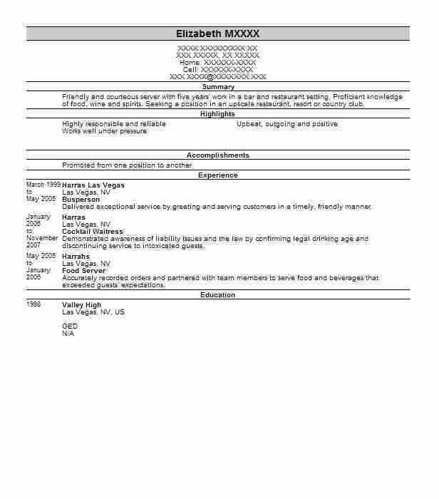 experience resume waitress professional resume cover letter sample ...