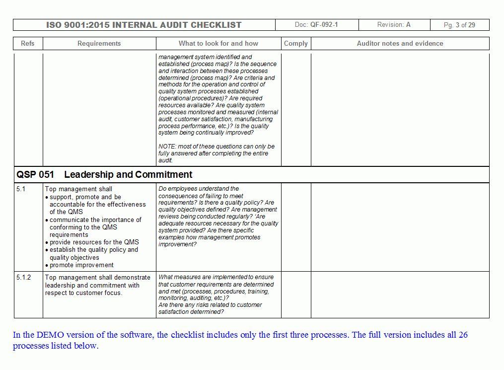 IMSXpress ISO 9001 Internal Audit Checklist - Quality Management ...