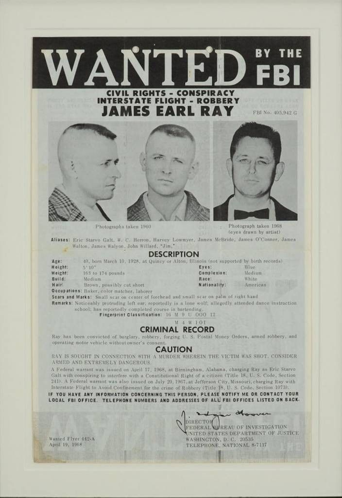 1. James Earl Ray Wanted poster - Flashbak
