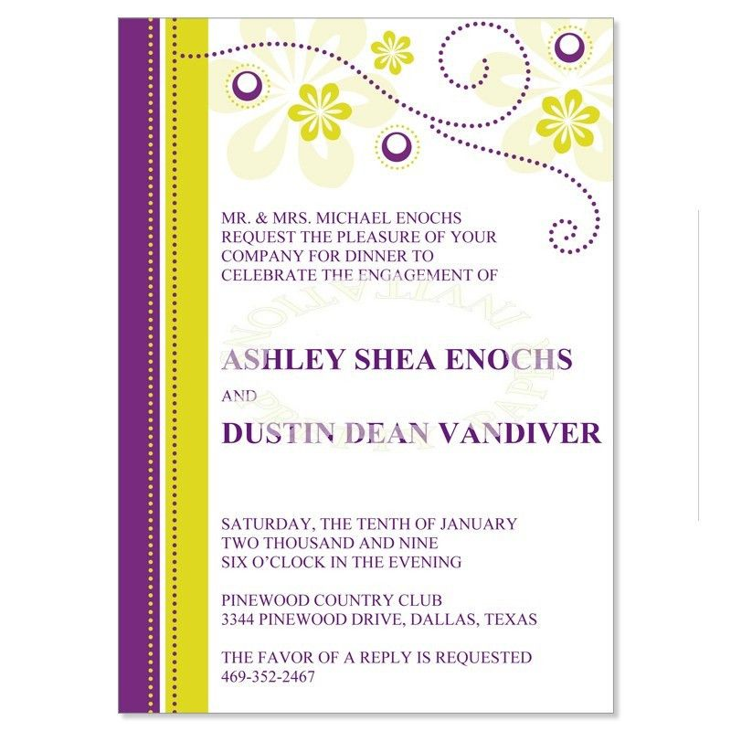 Purple & Yellow Engagement Party Invitation Templates - Crystal ...