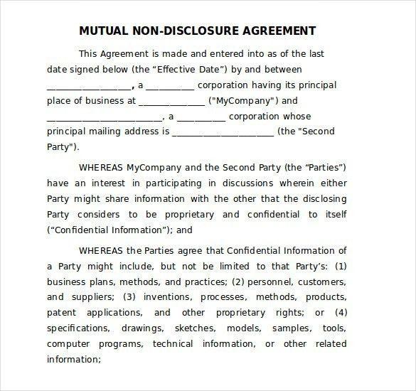 Non Disclosure Agreement Template Word | Template Idea
