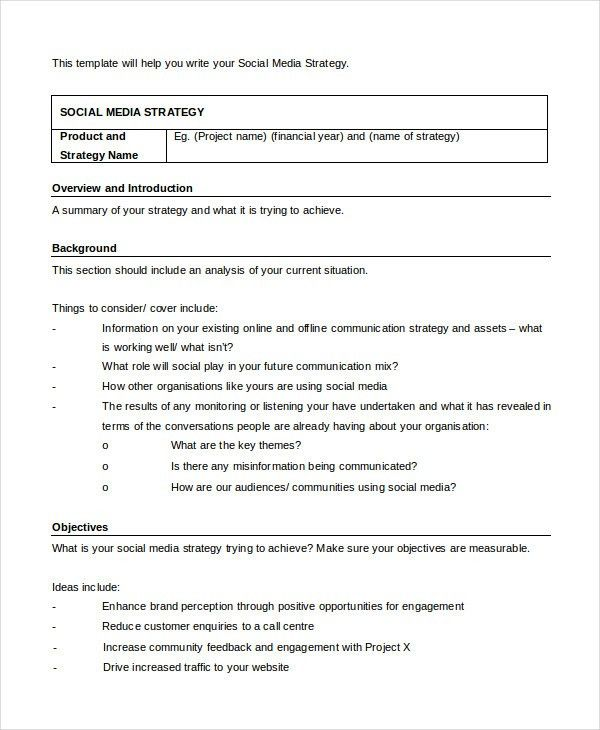 Social Media Strategy Template - 7+ Free Word, PDF Documents ...
