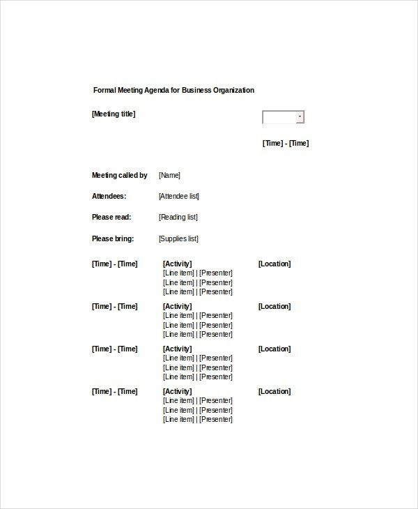 Meeting Agenda Sample. Sample Formal Meeting Agenda Template For ...