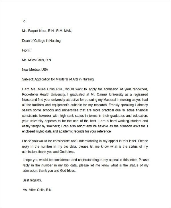 College Application Letter Format - Letter Template