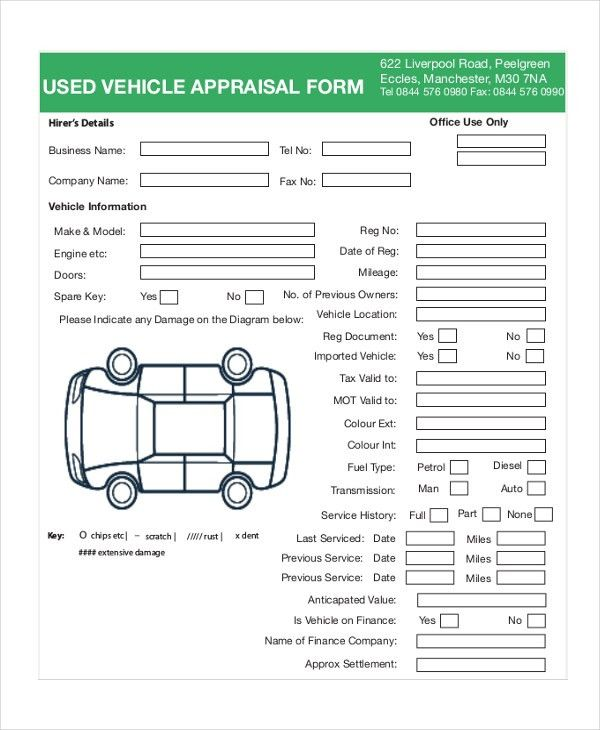 7+ Sample Vehicle Appraisal Forms - Sample, Example, Format
