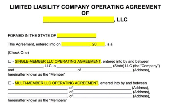 Free LLC Operating Agreement Templates - PDF | Word | eForms ...