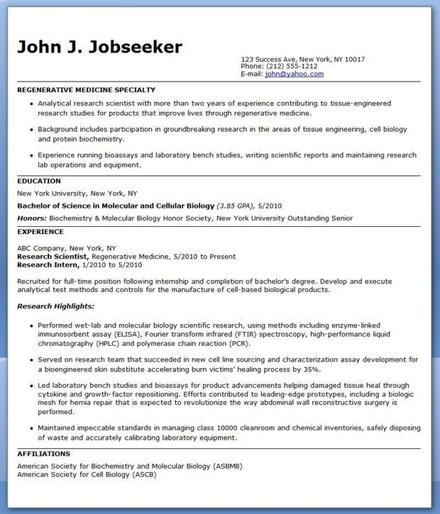 Entry Level Research Scientist Resume Sample | Creative Resume ...