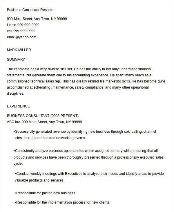 business consultant resume samples business resume example sample