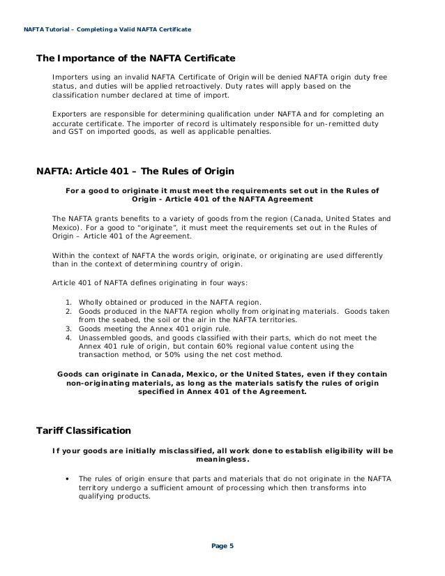 NAFTA Tutorial - Steps to Completing a Valid NAFTA Certificate