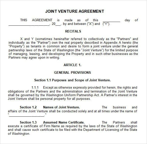 Sample Joint Venture Agreement. Partnership Agreement Template -12 ...