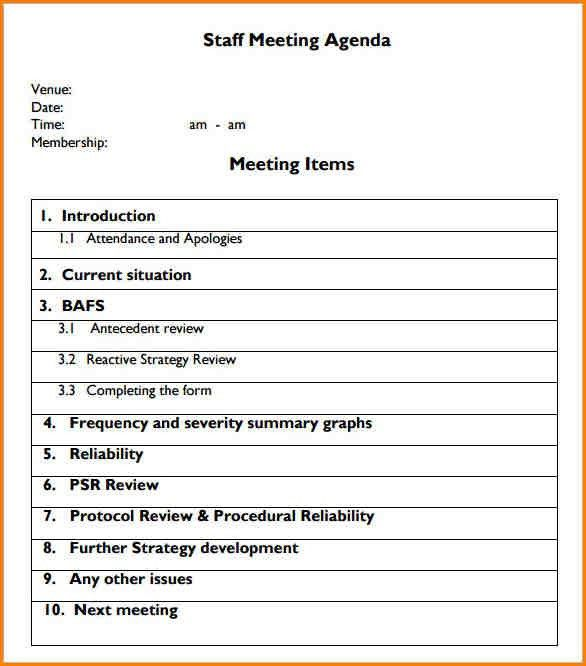5+ sample agenda for meeting | writable calendar