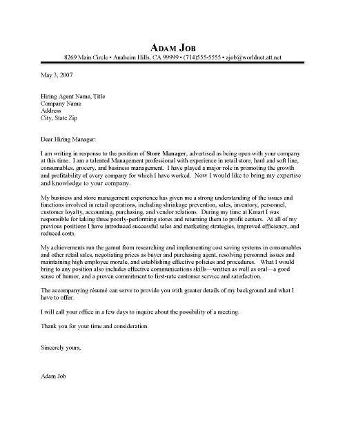Retail Store Manager Cover Letter Resume Cover Letter with Retail ...
