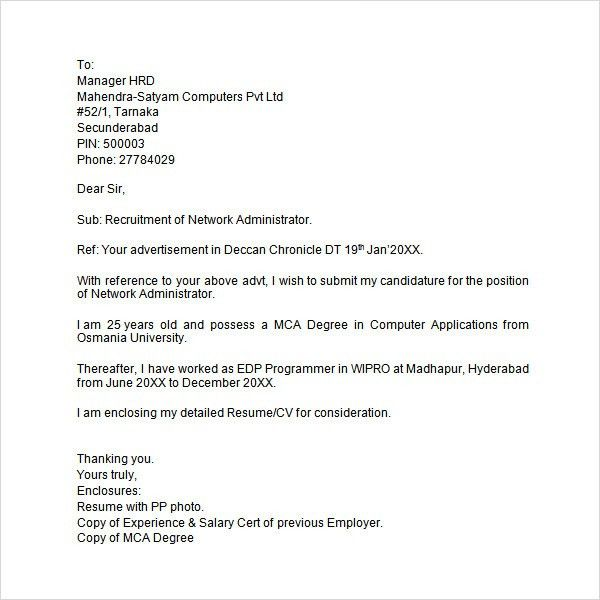 Sample Cover Letter For Job Applications