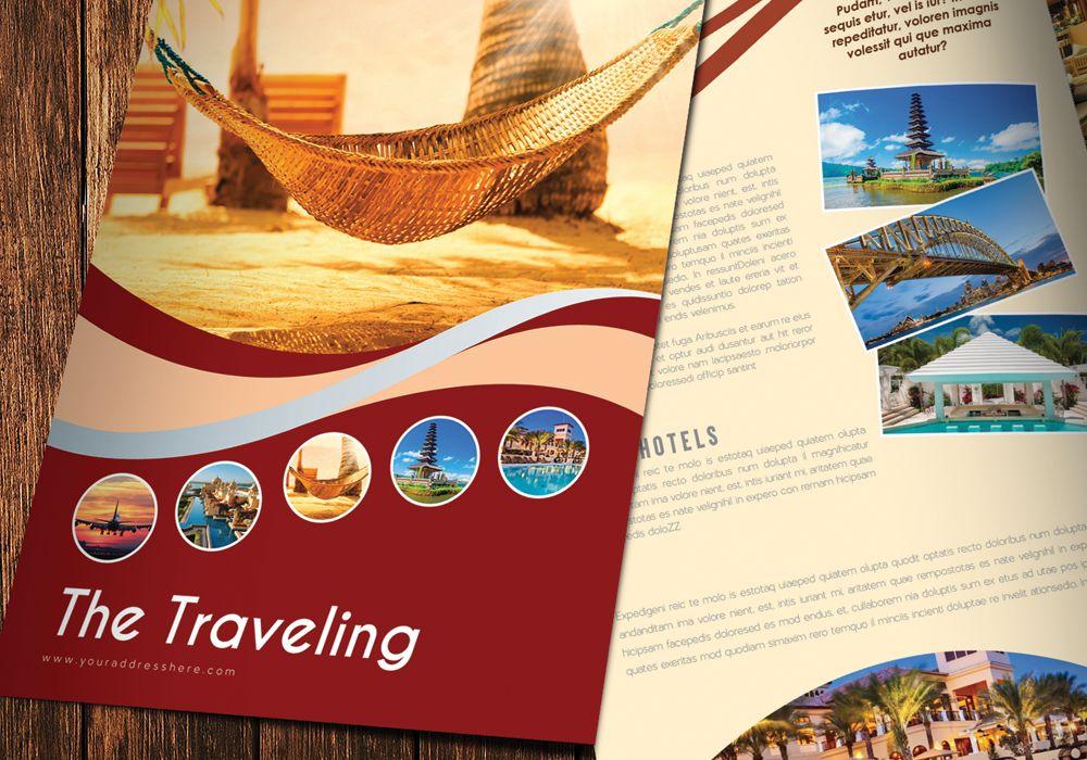 Bi-Fold Travel Brochure Template Design in Illustrator Ai ...