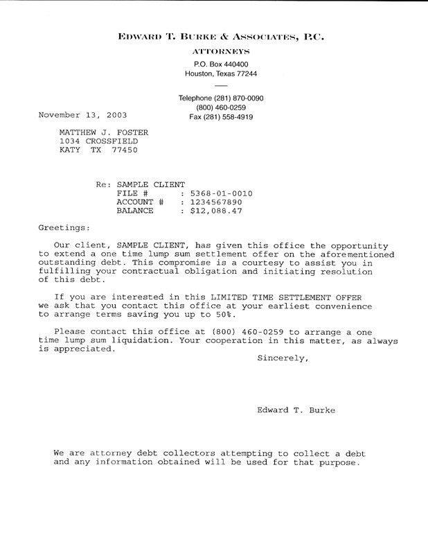 Settlement Offer Template. Debt Settlement Letters. Settlement ...