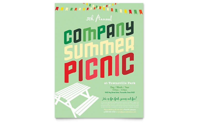 Company Summer Picnic Flyer Template - Word & Publisher