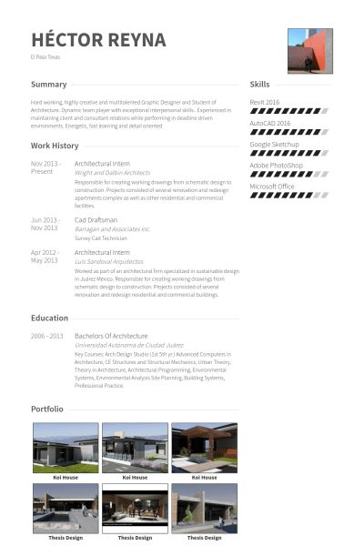 Architectural Intern Resume samples - VisualCV resume samples database
