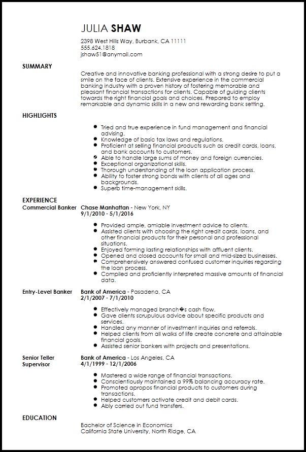 Free Creative Banking Resume Template | ResumeNow