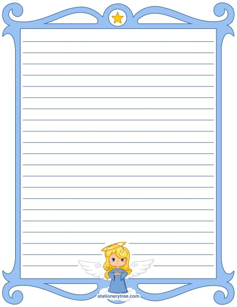 Printable angel stationery and writing paper. Multiple versions ...