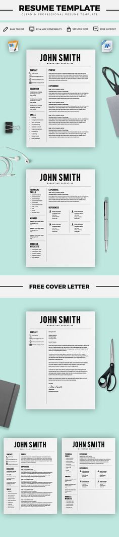 Two Page Resume Template - Resume Builder - CV Template - Free ...