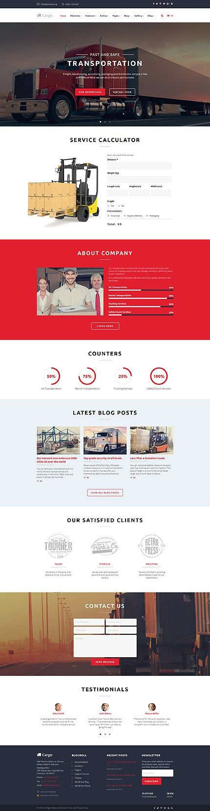 Website Templates Transportation Custom Website Template ...