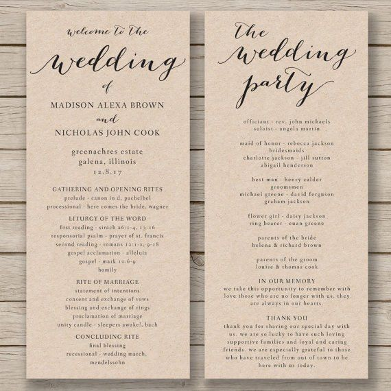 Wedding Program Template Printable by HopeStreetPrintables ...