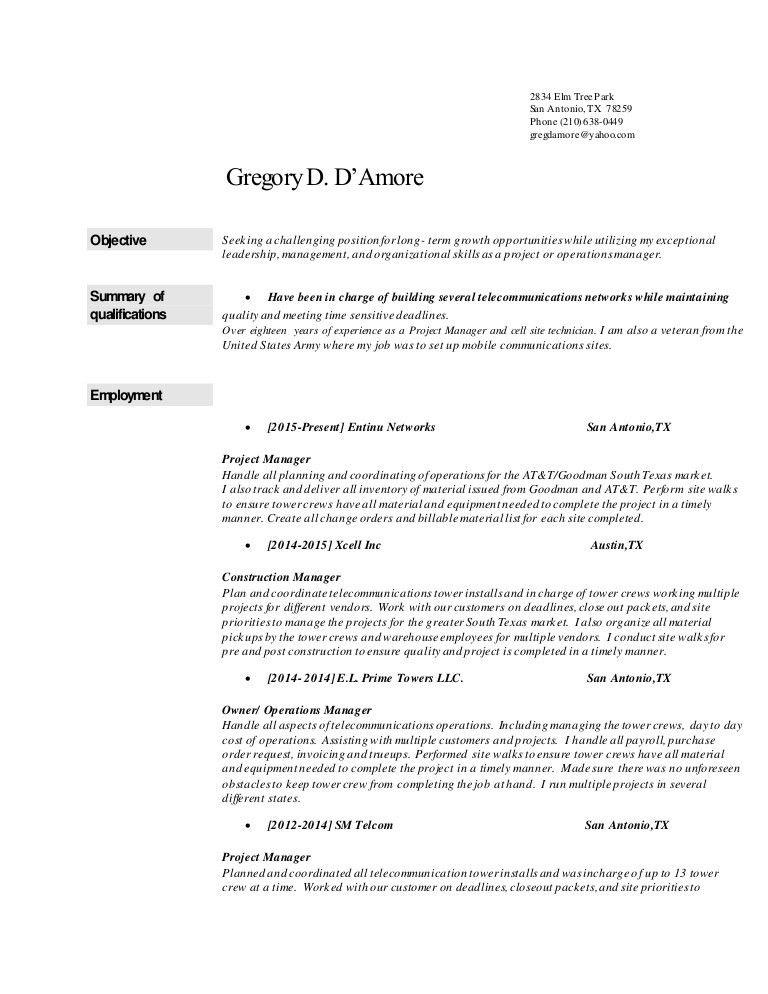 Greg's resume