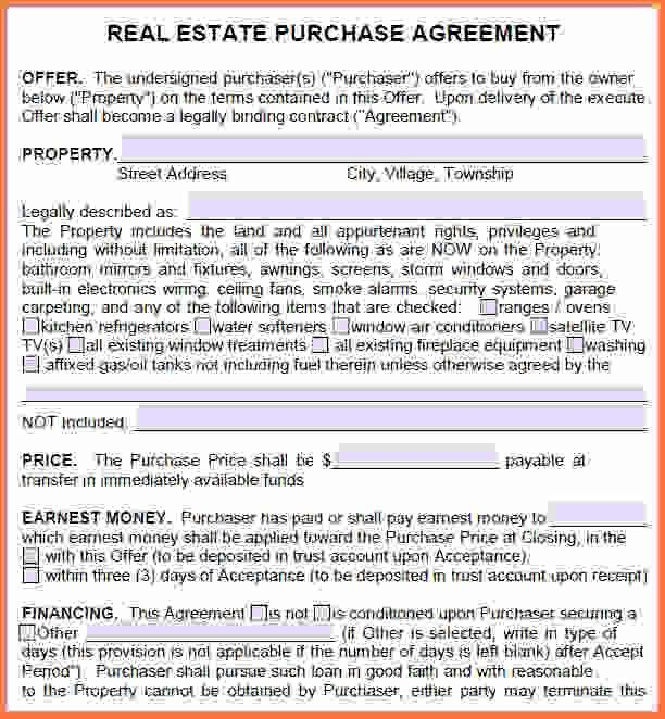 Free Printable Real Estate Purchase Agreement.Sample Real Estate ...