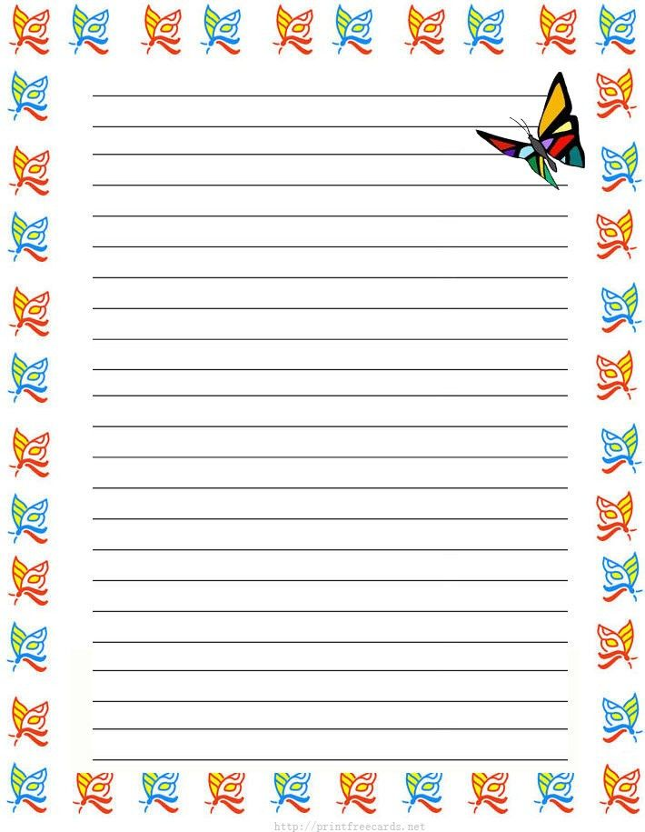 girl butterflies Free printable kids stationery, free printable ...