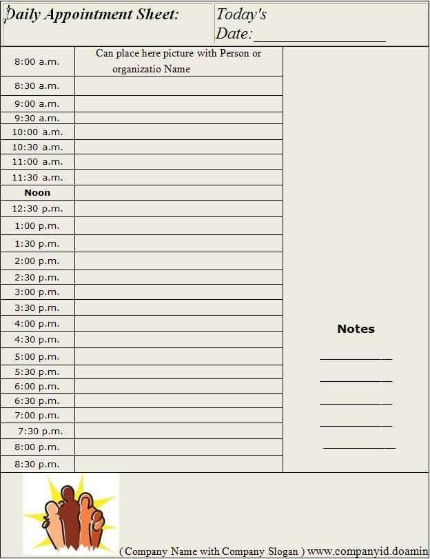 Daily Appointment Sheet Template | Graphics and Templates