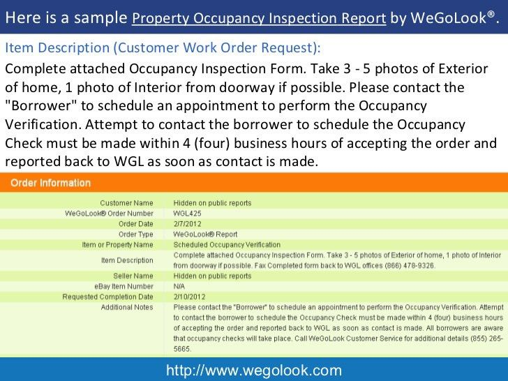 Onsite Property Occupancy Inspection - Sample Report