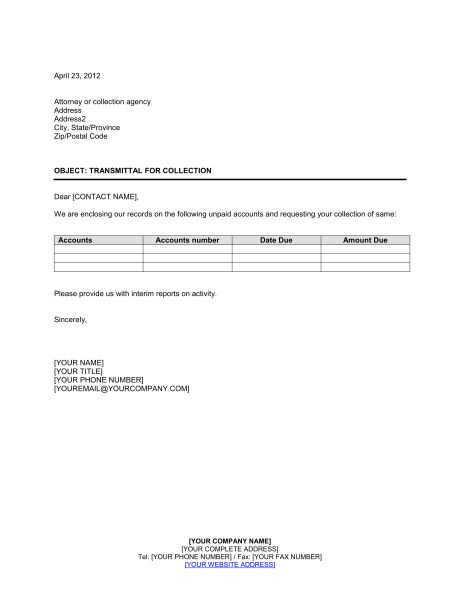 Transmittal of Documents for Signature - Template & Sample Form ...