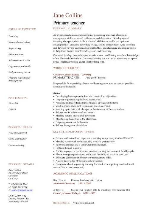 Primary teacher CV sample, school, teaching, classroom, children ...