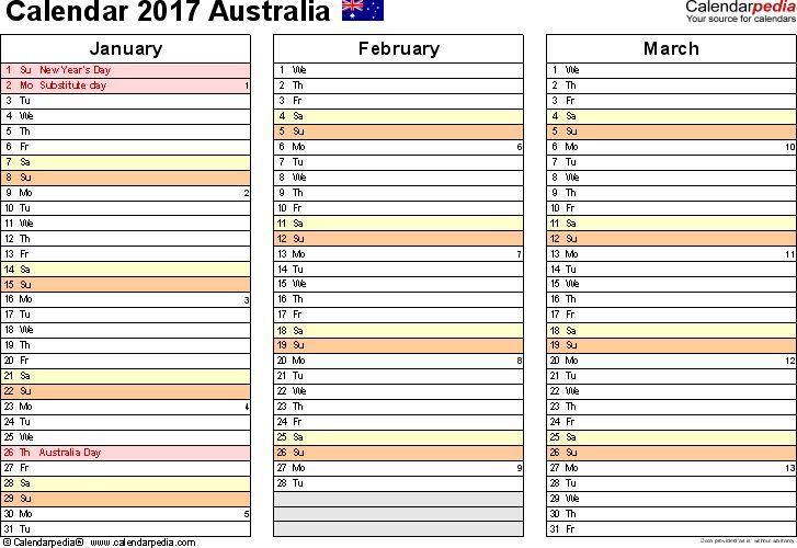Australia Calendar 2017 - free printable PDF templates